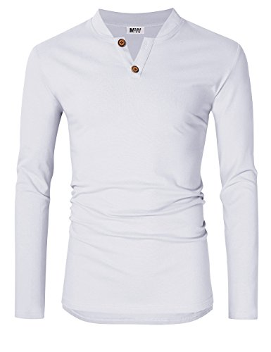 MrWonder Men's Casual Linen and Cotton V Neck Long Sleeve Henley T-Shirts White - Fashion Linen