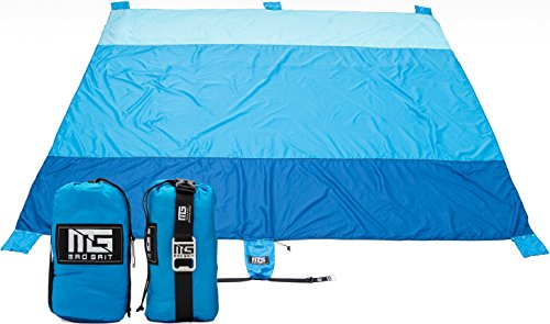 Mad Grit Insane Deal! 9 X 10 Large Travel Beach Blanket - Largest & Most Portable Beach Blanket That Fits Your Whole Family. Quick Drying, Sand Proof, Lightweight - Best Outdoor Picnic Throw