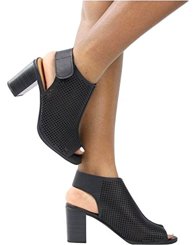 Women's Black Out Classified Stacked Roadway Leather Faux Heels Cut City Laser Toe Peep Slingback 5aqOwqndC