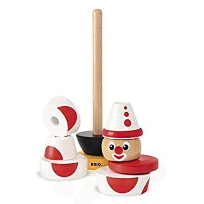 Brio Infant & Toddler 30230 - Stacking Clown - 60th Anniversary Edition - 9 Piece Wood Stacking Toy for Kids Ages 1 and Up: Toys & Games