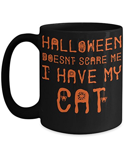 Halloween Cat Mug - White 11oz Ceramic Tea Coffee Cup - Perfect For Travel And Gifts -