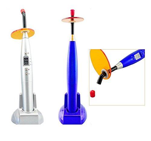 BoNew 2PCS Dental 10W Wireless Cordless LED Light Cure Lamp 2000mw Blue/Silver