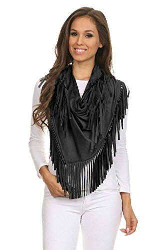 Faux Suede Wrap (PB COUTURE Womens Faux Suede Fringed Triangle Shawl Wrap Black-One Size)