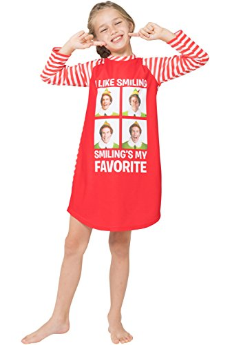 Elf The Movie Girls 'Buddy Will Ferrell Smiling Santa Holiday' Fleece Striped Pajama Gown, Red, 6/6X (Pajama Striped Fleece)
