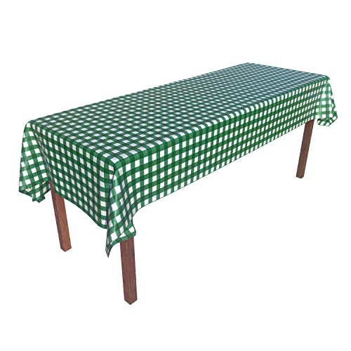Green White Gingham Checkered 6 Pack Premium Disposable Plastic Tablecloth 54 Inch. x 108 Inch. Rectangle Table Cover Heavy Duty Party Picnic Outdoor Beach