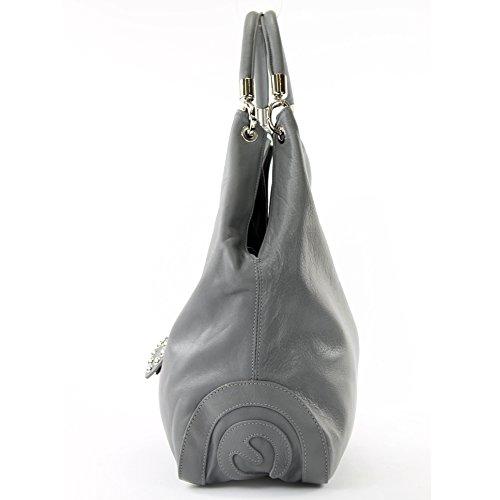Italien À Sac Cuir 330a Main Femme nur Nappaleder grau Farbe Präzise Farbe Bandoulière wXCRAOqCx