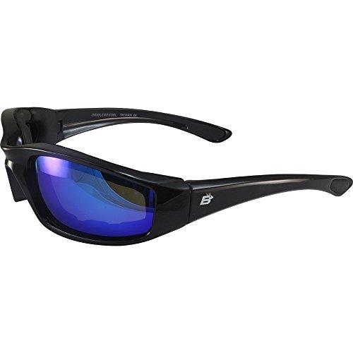 Birdz Eyewear Oriole Padded Motorcycle Riding Sunglasses Gloss Black Frames Blue G-Tech Reflective ()