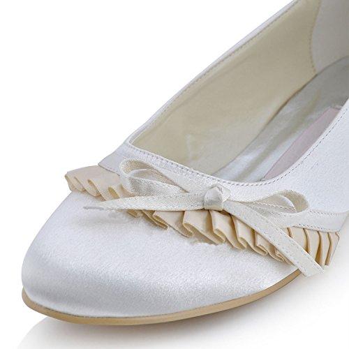 Kevin Fashion mz596para mujer novia boda fiesta por la noche satén con fruncido y punta redonda Flats zapatos, color Beige, talla 43