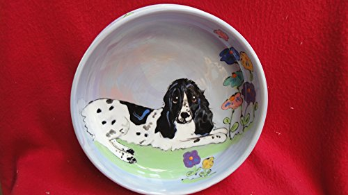 Springer Spaniel 10'' Ceramic Dog Bowl for Food or Water. Personalized at no Charge. Signed by Artist, Debby Carman. by Faux Paw Productions, Inc., Laguna Beach, CA