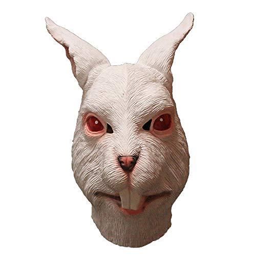 White Rabbit Latex Full Overhead Animal Bunny Mask Halloween Party Costume -