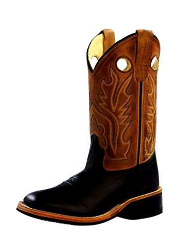 Old West Boys' Canyon Cowboy Boot Square Toe Black 1.5 D(...