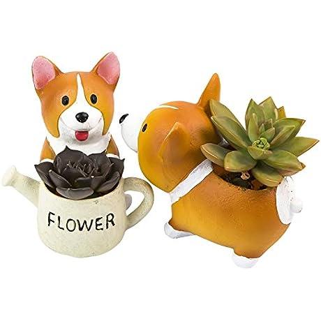 SUN E Lovely Corgi Dog Shaped Plant Decor Succulent Plants Decorative Flower Pot 2 In Set