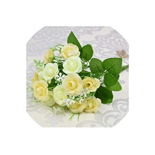 Laniakea-F 1 Bouquet 15 Buds Artificial Flowers Silk Flower Fall Roses Fake Leaf Wedding Decor Home Christmas Ornament,A
