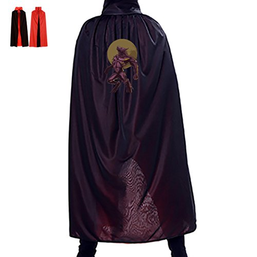 Halloween Cape Werewolves Full Moon Unisex Hooded Costume Wizard Cloak (Werewolves Costumes)