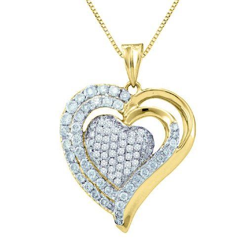 14K Yellow Gold 1 ct. Diamond Heart Pendant Necklace