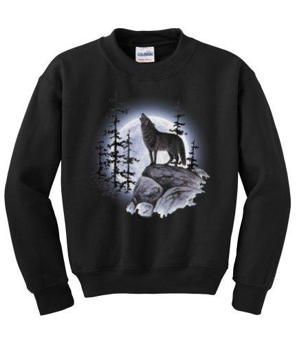 Express Yourself Wolf Moon Standing Crew Neck Sweatshirt (Black - Large) - MENS ()