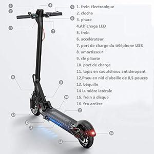 PINENG Trottinette Électrique avec Contrôle de l'application et Port USB Intégré, 7.5h Batterie, LCD Écran d'affichage,25km/h, 8.5 inch Pneu,Scooter Électrique Pliable 350W Moteur pour Ados et Adult