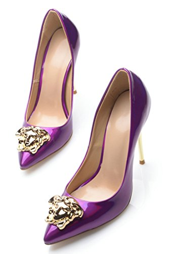 Pointed Evening Party Stiletto Purple Heel Women's Toe Metal Burnished Dress Pumps TDA Leather Shiny Patent EzgqwppWU