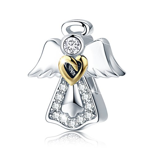 BAMOER Angel Love Sterling Silver Charm with Clear CZ Charm Bead for European Bracelet - Bracelet Silver Charm Angel