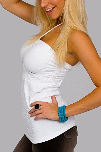 Scala Seamless Cami with Built in Bra - Wear Halter Strap or Strapless White One Size
