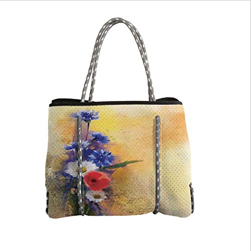 (Neoprene Multipurpose Beach Bag Tote Bags,Watercolor Flower Home Decor,Poppy Flowers Cornflower Pastel Chamomile Petal Beauty Print,Blue White,Women Casual Handbag Tote Bags)