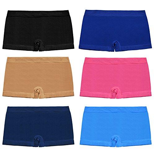 Libella Women's Boyshort Panties Seamless Low-Rise Boy Cut Brief Trunks,Pack Of 6 Soft Underwear 6808C S/M (Boy Cut Briefs)