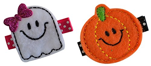 Lil Pumpkin and Ghost Embroidered Felt Hair Clip