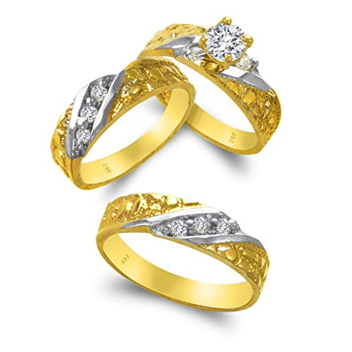 TOUSIATTAR Trio Ring Set 14k Gold - 3 Piece Wedding His Engagement Her Band Rings Sets - Round Cubic Zirconia CZ for Couple Mens and Women - Anillos de Matrimonio (Ladies Size 5.5 - Men's Size 9.5)