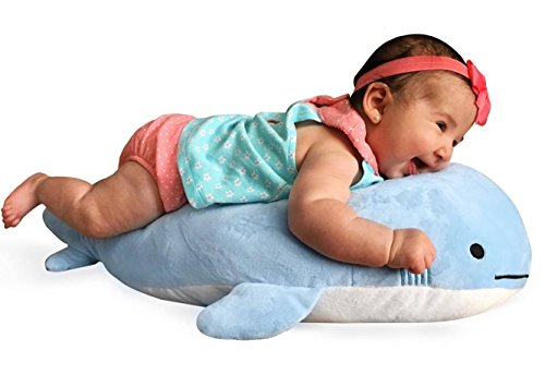 Blow the Blue Beluga Whale Plush Large Stuffed Animal Shark for Children 2 Feet Long by Buddy (Big Whale)