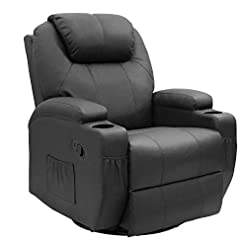 Living Room JUMMICO Recliner Chair Massage and Heating Living Room Chair, Rocking and 360° Swivel Home Leather Sofa with 2 Cup…