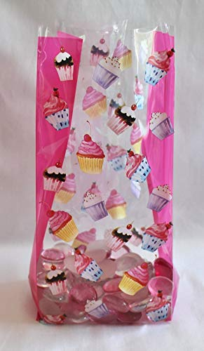 Happy Birthday Party Cupcakes Cello Cellophane Party Favor Treat Bags - Pack of 25 - Bags Treat Cupcake