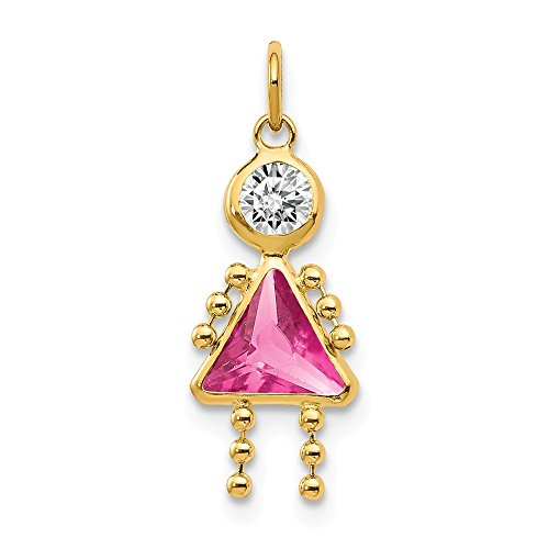 14k Yellow Gold October Girl Birthstone Pendant Charm Necklace Kid Fine Jewelry Gifts For Women For Her ()