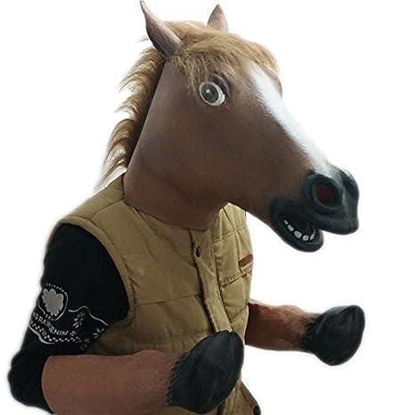 Signstek - Máscara y guantes de látex para disfraz, diseño de cabeza y cascos de caballo: Amazon.es: Juguetes y juegos