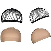 4 Stück Perücke Kappen Caps Nylon Haarnetz Dehnbare, URAQT Perückekappe Schwarz Mesh und Neutral Nackt Beige, Elastische Netz