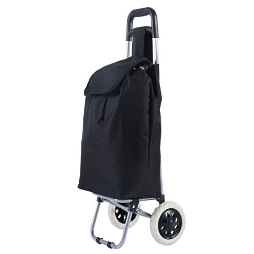 Giantex Black Large Capacity Light Weight Wheeled Shopping Trolley Push Cart - Black Capacity Cart