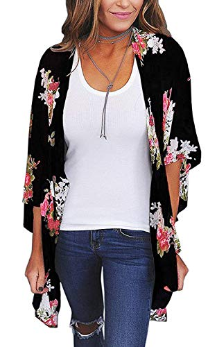 Women's Floral Print Short Sleeve Shawl Chiffon Kimono Cardigan Casual Blouse Tops(Black L)