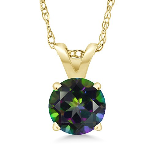 - Gem Stone King 1.00 Ct Round Green Mystic Topaz 14K Yellow Gold Pendant With Chain