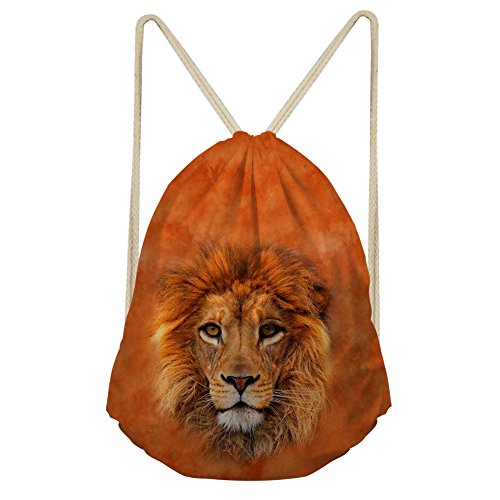 Showudesigns Brown Lion Adult Kids Drawstring Backpack for Outdoor Sport Travel ()