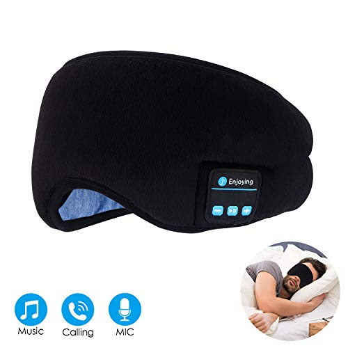 Bluetooth Sleep Eye Mask Wireless Headphones, TOPOINT Upgrade Sleeping Travel Music Eye Cover Bluetooth Headsets with Microphone Handsfree, Long Play Time, ()