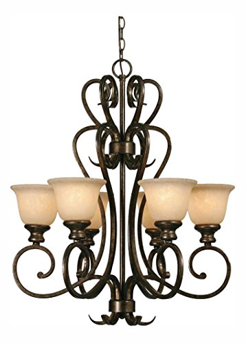 Burnt Sienna Six Light Chandelier from The Heartwood Collection ()