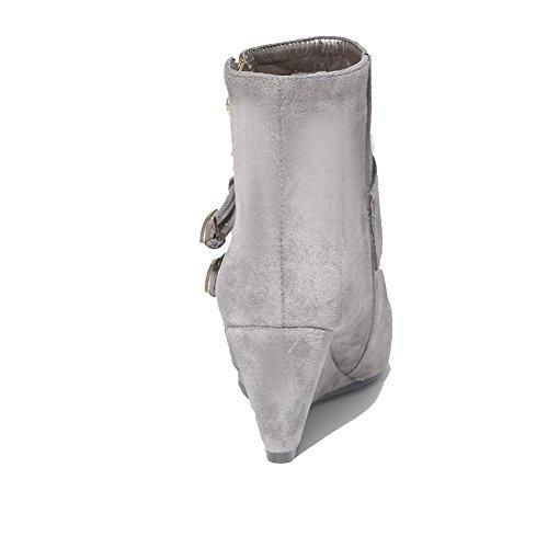 Rund Stiefel Absatz Mittler Schnalle mit Rein VogueZone009 Damen Grau Reißverschluss Zehe B6nXBAZ