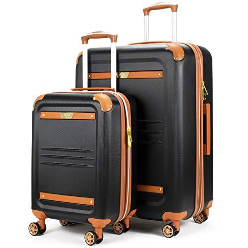 19V69 Italia Vintage Expandable Hard Spinner Luggage 2 Piece Set (Black, Large + Carry-on) (Best Hard Luggage 2019)