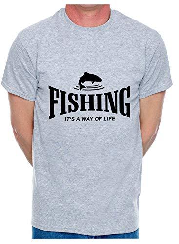 Print4U Mens T-Shirt Fishing is A Way of Life Angler Medium Grey Black Text eaa39a00f1835