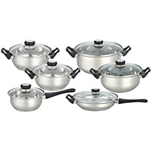 12 piece stainless steel cookware set kitchen for Naaptol kitchen set 70 pieces
