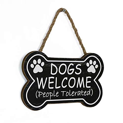 SANY DAYO HOME Dogs Welcome People Tolerated 10 x 6 inches Bone Shape Wood Decorative Plaque Funny Dog Signs with Hanging Rope for Wall and