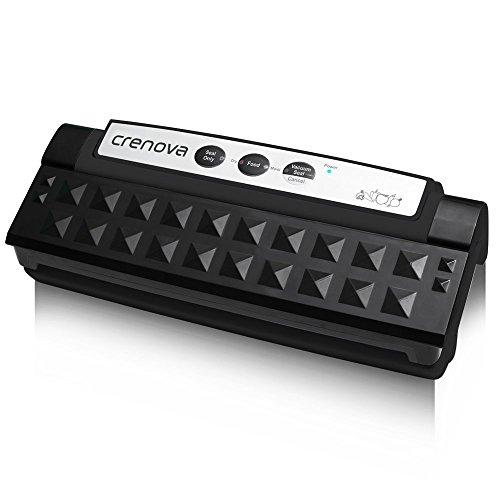 Vakuumierer, Crenova VS-1 Folienschweißgeräte Automatischer Vakuumiergerät für die Aufbewahrung von Nahrungsmitteln mit einem Einsteigerpaket Folienschweißgeräte (Schwarz)