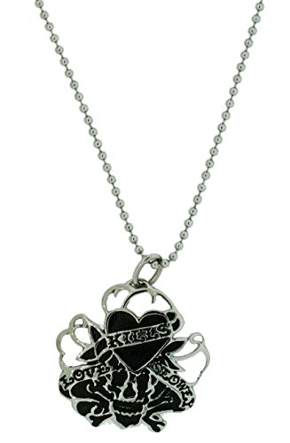 Ed Hardy Love Kills Slowly Mesh Pendant Necklace in Stainless Steel ()