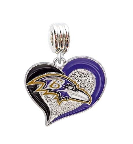 (Heavens Jewelry Baltimore Ravens Football Team Heart Charm Slide Pendant for Your Necklace European Charm Bracelet (Fits Most Name Brands) DIY Projects ETC)