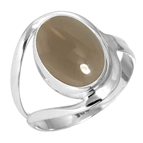 925 Sterling Silver Women Jewelry Natural Smoky Topaz Ring Size 8