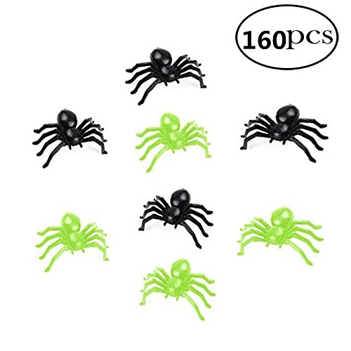 Soochat Halloween Black Plastic Spiders and Luminous Spiders for Halloween Party Decorations April Fools' Day Prank Toy Party (160 Pcs)